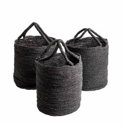 BA0013.10 Seagrass Basket Black set-3