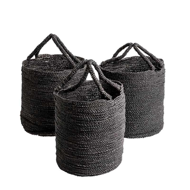 BA0013.10 Seagrass Basket Black set-3