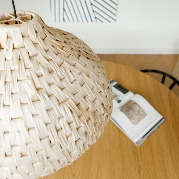 lampshade abaca hanging above table
